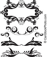 set of ornaments - Vector illustration set of swirling...