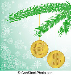 Christmas tree branch with coins