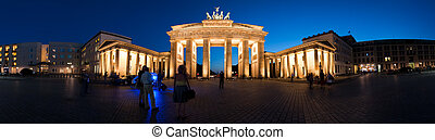Panorama Brandenburg Gate at night V1 - Germany Berlin...