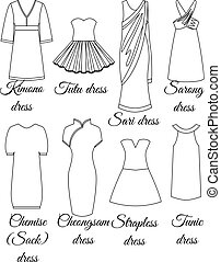 Styles of dresses outline - Styles of dresses set outline