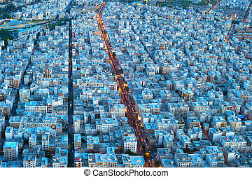 Tehran birds-eye view. Iran - Aerial view of Tehran from...