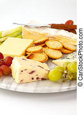Cheeseboard - Selection of cheeses with biscuits and garnish...