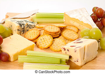 Cheeseboard - A variety of cheeses with biscuits and...