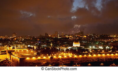 Bright Jerusalem old city lights over Al Aqsa - Jerusalem...