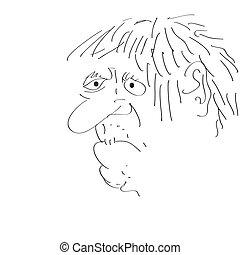Man\'s face caricature. Vector