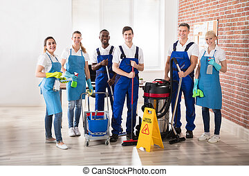 Portrait Of Diverse Janitors - Portrait Of Happy Diverse...