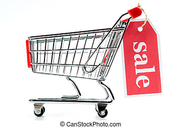 Shopping Cart V1 Sale - shopping cart sale isolated on white...