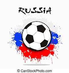 Soccer ball against the background of the Russian flag