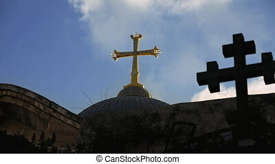 Cross on Temple of the Holy Sepulcher in Jerusalem - Golden...