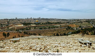 Jerusalem panoramic olive mountain view time lapse -...