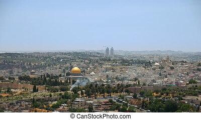 Jerusalem panoramic aerial view time lapse - Jerusalem...
