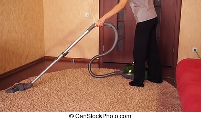 A woman cleans the apartment.