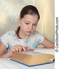 Teenage girl 12-13 years old reading