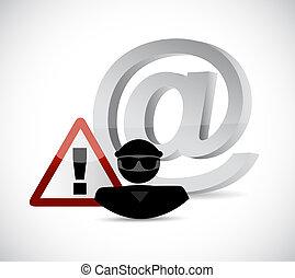 internet hacker warning sign concept illustration design...