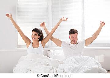 coppia, letto, Felice