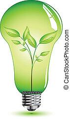 Lamp concept - Natural leaf inside light bulb