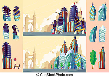 cartoon illustration of an urban landscape with large modern...