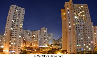 Night city. Multi-storey houses at night. Kiev, Ukraine