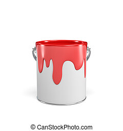 3d rendering of a paint bucket full of red paint