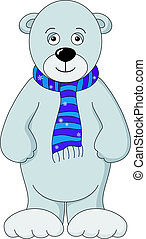Teddy-bear white in scarf, isolated
