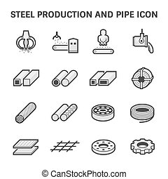 Steel Pipe Icon - Vector icon of steel pipe and metal...