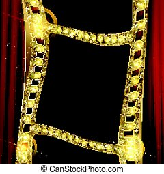 gold film on the curtain backdrop. - gold film on the red...