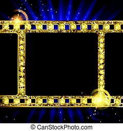 gold film on the curtain backdrop. - gold film on the blue...