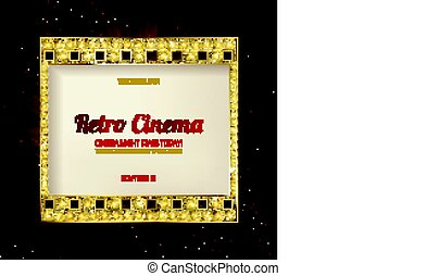 gold film on the curtain backdrop. Vector illustration....