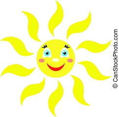 Smiling sun with rays of curved raysshapes. Icon on a white background. Vector image in a cartoon style