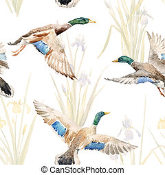 Watercolor pattern with ducks
