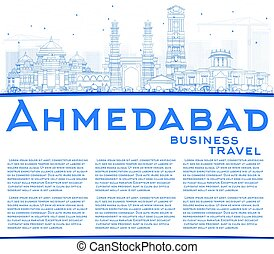 Outline Ahmedabad Skyline with Blue Buildings and Copy...