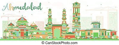 Abstract Ahmedabad Skyline with Color Buildings. Vector...