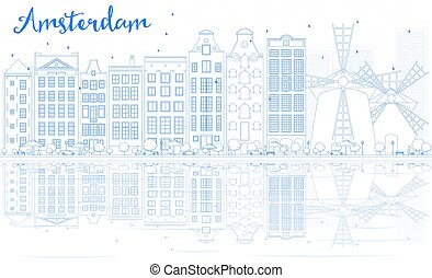 Outline Amsterdam skyline with blue buildings and reflections.