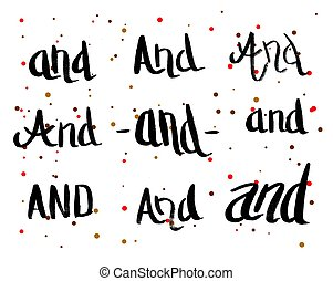 Calligraphy Greeting Card with Set of Prepositions And. Hand...