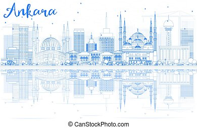 Outline Ankara Skyline with Blue Buildings and Reflections.