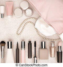 Make up bag, cosmetics products and fashion accessories. Top...