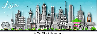 Asia skyline silhouette with different landmarks.