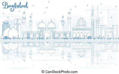 Outline Baghdad Skyline with Blue Buildings and Reflections.