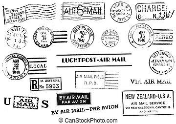 Vintage postal marks - A set of nineteen large postal marks...