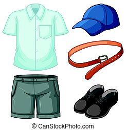 School uniform set on white background illustration