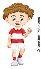 Happy boy pointing finger up illustration