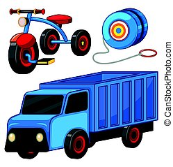 Truck and tricycle toys illustration