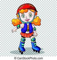 Girl rollerskating on transparent background illustration