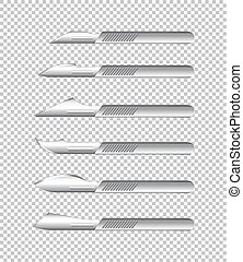 Different types of medical knives on transparent background