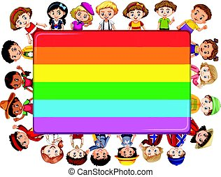 Rainbow board with many kids in background