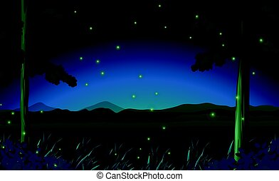 Scene with fireflies in forest at night illustration