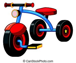 Tricycle with blue and red color illustration