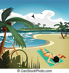 Sea landscape summer tropical private beach. A young woman...
