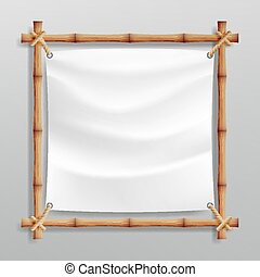Bamboo Frame Vector With White Canvas. Wooden Frame Of Bamboo Sticks Swathed In Rope. Banner Template