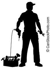 Emergency repairman silhouette